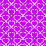 Heart Prints Seamless Texture Wallpaper. Heart white frames wallpaper pattern on a hot pink background. Seamless texture background Royalty Free Stock Photos