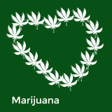 The heart of the white leaves of marijuana on a. Green background, editable vector illustration royalty free illustration