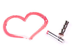 Heart on the white paper. With red lipstick Royalty Free Stock Photography