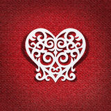 The heart of the white paper on red background Royalty Free Stock Photo