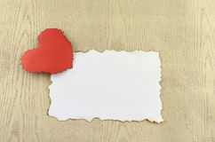 Heart and white paper stock images