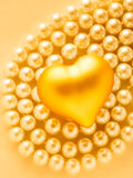 Heart on white pearl necklace Royalty Free Stock Image