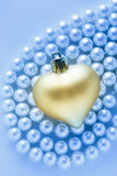 Heart on white pearl necklace Royalty Free Stock Images