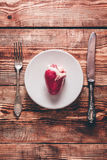 Heart on White Plate Stock Images
