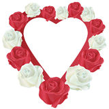 Heart with white and red roses Royalty Free Stock Photos