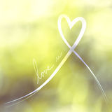 Heart white ribbon with love Royalty Free Stock Images