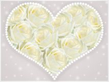 Heart with white roses. royalty free stock photography