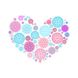 Heart from white snowflakes. Heart from  color snowflakes on the white background Stock Images