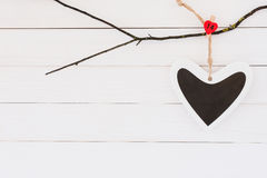 Heart on white wooden background. Copy space, Valentines day background Stock Photos