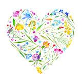 Heart of a wild flowers on a white background. Stock Photography