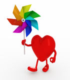 Heart with windmill rainbow colored Royalty Free Stock Image