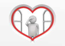 Heart window observer 1 Royalty Free Stock Image