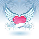 Heart-winds. Abstract composition of a heart with wings. Image lies on different layers royalty free illustration