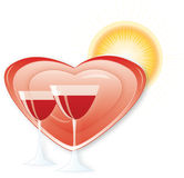 Heart&wine Stock Photo