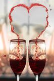 Heart of wine in two glasses