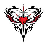 Heart wing sword tattoo abstraction black red love Stock Photography