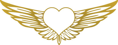 Heart with wings. Flying greeting Royalty Free Stock Image