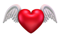 Heart with Wings. 3D render of a valentine heart with white wings Stock Photos