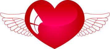 Heart with wings 2. This illustration depicts a red heart with wings Stock Photos