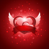 Heart with Wings. Vector illustration of an abstract concept of a cute shining heart with wings and banner in front of it, for Valentine's day Stock Image