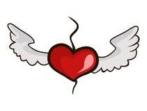 Heart with wings. Heart soars above a break wings of love stock illustration