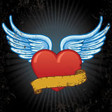 Heart with wings and banner vector illustration royalty free stock photos