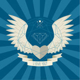 Heart with wings on blue. Royalty Free Stock Photo