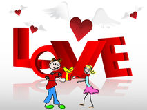Heart with wings boy giving gift to the girlfriend Stock Image
