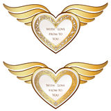 Heart with wings collection. Golden festive frame Stock Image