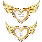 Heart with wings collection. Golden festive frame Royalty Free Stock Image