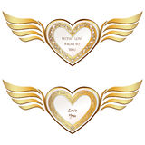Heart with wings collection. Golden festive frame Royalty Free Stock Photos