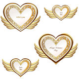 Heart with wings collection. Golden festive frame Royalty Free Stock Photography