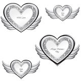Heart with wings collection. Silver festive frame Stock Images