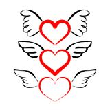 Heart with wings collection  vector Royalty Free Stock Photos