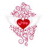 Heart with wings with floral decoration Royalty Free Stock Photos