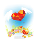 Heart wings flowers Stock Photos