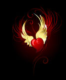 Heart with wings foil vector illustration