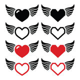 Heart with wings icons set Stock Image