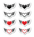 Heart with wings icons set Stock Photos