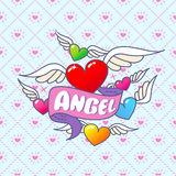 Heart and wings and inscription is an angel. Vector illustration Royalty Free Stock Image