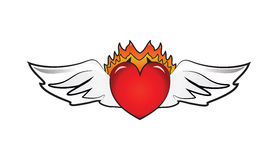 Heart Wings Logo. Red shiny heart with wide white wings and orange flames of fire Royalty Free Stock Photography