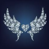 Heart with wings made a lot of diamonds Royalty Free Stock Photo