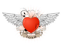 Heart with wings and ribbon Stock Photo