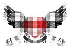 Heart with wings and ribbon Royalty Free Stock Photography
