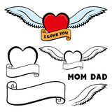 Heart, wings and ribbon. Stock Photography