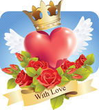 Heart with wings and roses and a banner With love Royalty Free Stock Images