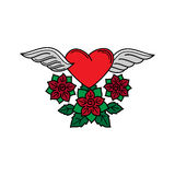Heart with wings and roses tatoo Stock Photos