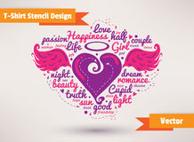 Heart with wings. T-Shirt Stencil Design vector Stock Images