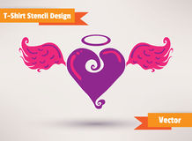 Heart with wings. T-Shirt Stencil Design vector Royalty Free Stock Image