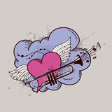 Heart with wings and trumpet Stock Image